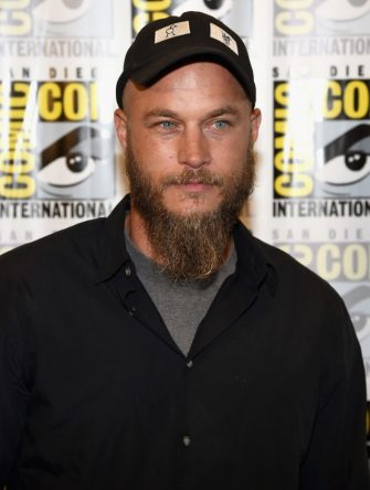 """SAN DIEGO, CA - JULY 25:  Actor Travis Fimmel attends a media room for the History series """"Vikings"""" during Comic-Con 2014 at the Hilton San Diego Bayfront hotel on July 25, 2014 in San Diego, California.  (Photo by Ethan Miller/Getty Images for A+E Networks)"""