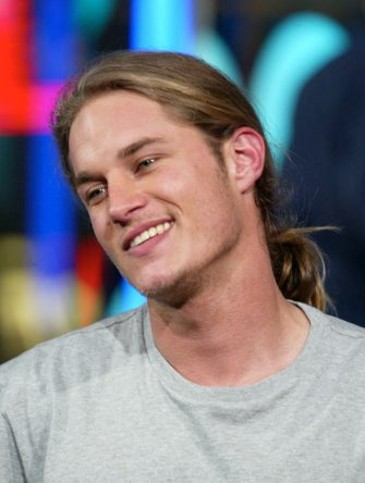 NEW YORK - OCTOBER 22:  (U.S. TABS OUT) Actor Travis Fimmel appears on stage during MTV's Total Request Live at the MTV Times Square Studios October 22, 2003 in New York City.  (Photo by Scott Gries/Getty Images)