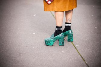 PARIS, FRANCE - MARCH 03: Alyssa Coscarelli, shoes detail, is seen outside Miu Miu, during Paris Fashion Week - Womenswear Fall/Winter 2020/2021 : Day Nine on March 03, 2020 in Paris, France. (Photo by Claudio Lavenia/Getty Images)