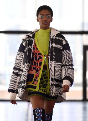LONDON, ENGLAND - FEBRUARY 15: In this photo released on February 19, 2021, A model walks the runway during the Mark Fast show during London Fashion Week February 2021 at MAGAZINE Ordnance Crescent on February 15, 2021 in London, England. (Photo by Jeff Spicer/BFC/Getty Images)