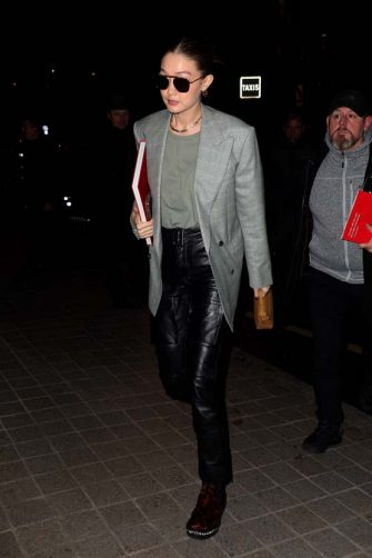 """PARIS, FRANCE - MARCH 02: Gigi Hadid arrives at the """"Royal Monceau"""" on March 02, 2020 in Paris, France. (Photo by Pierre Suu/GC Images)"""