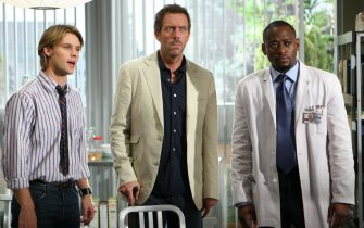 """HOUSE:  House (Hugh Laurie, C) and Chase (Jesse Spencer, L) are the subjects of an internal investigation for a mistake, which though small, eventually led to a patientÕs death in the HOUSE episode """"The Mistake"""" airing Tuesday, Nov. 29 (9:00-10:00 PM ET/PT) on FOX.  Also pictured:  Omar Epps (R).  ª©2005 Fox Broadcasting Co.  Cr:  Michael Becker/FOX."""