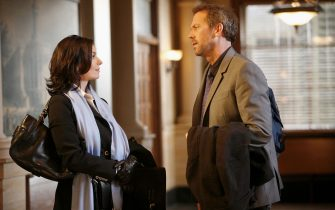 """HOUSE: House (Hugh Laurie, R) and Stacey (Sela Ward, L) travel to Baltimore to deal with discrepancies in HouseÕs Medicaid billings in the HOUSE episode """"Failure to Communicate"""" airing Tuesday, Jan. 10 (9:00-10:00 PM ET/PT) on FOX. ©2005 Fox Broadcasting Co. Cr: Isabella Vosmikova/FOXÊ"""