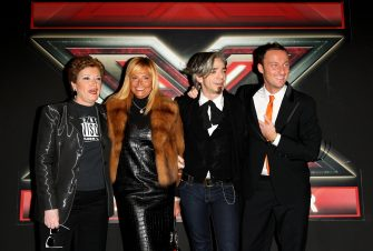 "MILAN, ITALY - JANUARY 09:  (L-R) Television Presenters Mara Maionchi, Simona Ventura, Morgan aka Marco Castoldi and Francesco Facchinetti attend  ""X Factor"" Italian TV Show press conference held at Westin Palace Hotel on January 9, 2009 in Milan, Italy.  (Photo by Vittorio Zunino Celotto/Getty Images)"