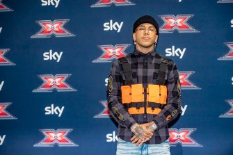 MILAN, ITALY - OCTOBER 22:  Sfera Ebbasta attends the presentation of the 2019 season of X Factor on October 22, 2019 in Milan, Italy. (Photo by Francesco Prandoni/Getty Images)