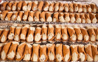 View of a tray of cannoli (or, improperly, cannolis) on display during the Chocolate Expo at the Cradle of Aviation Museum, Garden City, New York, December 11, 2016. (Photo by Chuck Fishman/Getty Images)