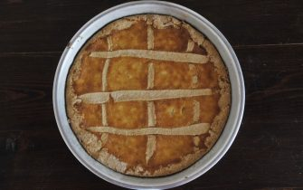 LIVORNO, ITALY - APRIL 12: A pastiera, the Easter cake, made by the photographer's mother and delivered as lockdown continues due to the coronavirus (COVID-19) outbreak on April 12, 2020 in Livorno, Italy. There have been well over 150,000 reported COVID-19 cases in Italy and nearly 20,000 deaths, but officials are confident the peak of new cases has passed.  (Photo by Laura Lezza/Getty Images)