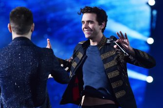 MILAN, ITALY - DECEMBER 10:  Singer Mika performs live during the final of 'X Factor' on December 10, 2015 in Milan, Italy.  (Photo by Stefania D'Alessandro/Getty Images)