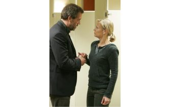 """HOUSE:  House (Hugh Laurie, L) fights to find proof of how a woman (guest star Samantha Morton, R) is trying to kill her husband with gold in the HOUSE episode """"Clueless"""" airing Tuesday, March 28 (9:00-10:00 PM ET/PT) on FOX.  ©2006 Fox Broadcasting Co.  Cr:  Chris Haston/FOX"""