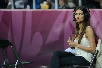 Spanish goalkeeper Iker Casillas' girlfriend, journalist Sara Carbonero, is seen during the Euro 2012 football championships final match Spain vs Italy on July 1, 2012 at the Olympic Stadium in Kiev. Spain won 4-0.  AFP PHOTO / GIUSEPPE CACACE        (Photo credit should read FRANCK FIFE/AFP/GettyImages)