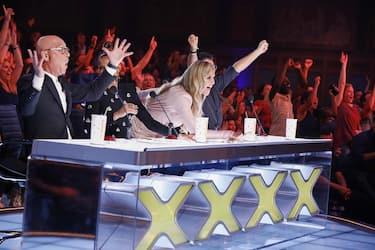 AMERICA'S GOT TALENT: THE CHAMPIONS -- VTR 2 -- Pictured: (l-r) Howie Mandel, Alesha Dixon, Heidi Klum, Simon Cowell -- (Photo by: Trae Patton/NBC)