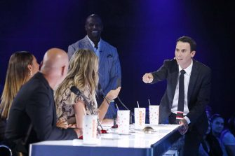 """AMERICA'S GOT TALENT: THE CHAMPIONS -- """"The Champions Two"""" Episode 201 -- Pictured: (l-r) Terry Crews, Oz Pearlman -- (Photo by: Trae Patton/NBC)"""