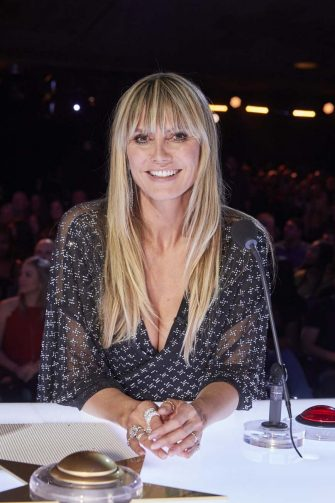 """AMERICA'S GOT TALENT: THE CHAMPIONS -- """"The Champions Four"""" Episode 204 -- Pictured: Heidi Klum -- (Photo by: Trae Patton/NBC)"""