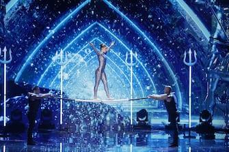 "AMERICA'S GOT TALENT: THE CHAMPIONS -- ""The Champions Four"" Episode 204 -- Pictured: Sandou Trio Russian Bar -- (Photo by: Trae Patton/NBC)"