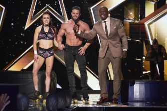 """AMERICA'S GOT TALENT: THE CHAMPIONS -- """"The Champions Semi Finals"""" Episode 205 -- Pictured: (l-r) Duo Transcend, Terry Crews -- (Photo by: Tina Thorpe/NBC)"""