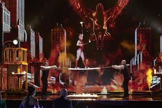 "AMERICA'S GOT TALENT: THE CHAMPIONS -- ""The Champions Semi Finals"" Episode 205 -- Pictured: Sandou Trio Russian Bar -- (Photo by: Tina Thorpe/NBC)"