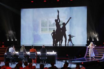 """AMERICA'S GOT TALENT: THE CHAMPIONS -- """"The Champions Finale Results"""" Episode 207 -- Pictured: (l-r) Silhouettes, Lindsey Stirling -- (Photo by: Trae Patton/NBC)"""