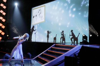 """AMERICA'S GOT TALENT: THE CHAMPIONS -- """"The Champions Finale Results"""" Episode 207 -- Pictured: (l-r) Lindsey Stirling, Silhouettes -- (Photo by: Trae Patton/NBC)"""