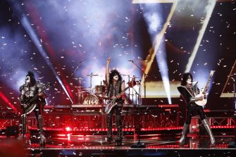 """AMERICA'S GOT TALENT: THE CHAMPIONS -- """"The Champions Finale Results"""" Episode 207 -- Pictured: (l-r) Gene Simmons, Paul Stanley, Tommy Thayer of KISS -- (Photo by: Trae Patton/NBC)"""