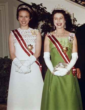 Queen Elizabeth II and Princess Anne attend a function at the Hotel Imperial in Vienna, during a State Visit to Austria, 7th May 1969. (Photo by Fox Photos/Hulton Archive/Getty Images)