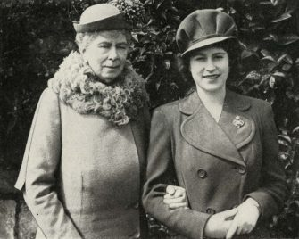 """Queen Mary with Princess Elizabeth, April 1944, (1951). 'Queen Mary with Princess Elizabeth at the party held to celebrate the eighteenth birthday of the Princess'. Queen Mary of Teck (1867-1953) with her granddaughter the Princess Elizabeth (born 1926, future Queen Elizabeth II). From """"The Queen Mother"""", by Marion Crawford (""""Crawfie""""), governess of Princess Margaret and Princess Elizabeth (the future Queen Elizabeth II). [George Newnes Limited, London, 1951]. Artist Unknown. (Photo by The Print Collector/Heritage Images via Getty Images)"""
