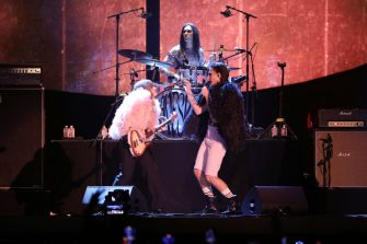 PARIS, FRANCE - SEPTEMBER 25: Victoria De Angelis, Ethan Torchio and Damiano David of the Maneskin, perform at the Global Citizen Live on September 25, 2021 in Paris, France. (Photo by Marc Piasecki/Getty Images For Global Citizen)