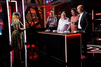 """MASTERCHEF: A Contestant, chef/host Gordon Ramsay with guest judge Emeril Lagasse and judges Aarón Sánchez and Joe Bastianich in the """"Emeril Lagasse Auditions Rd. 1"""" season premiere episode of MASTERCHEF airing Wednesday, June 2 (8:00-9:00 PM ET/PT) on FOX. © 2019 FOX MEDIA LLC. CR: FOX."""