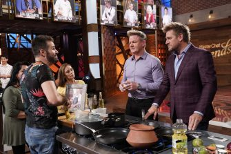 """MASTERCHEF: L-R: A contestant with chef/judge Gordon Ramsay and guest judge Curtis Stone in the """"Legends: Curtis Stone - Auditions Round 2"""" episode of MASTERCHEF airing Wednesday, June 9 (8:00-9:00 PM ET/PT) on FOX. © 2019 FOX MEDIA LLC. CR: FOX."""