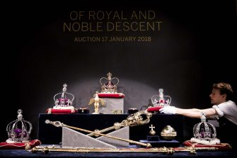 LONDON, ENGLAND - JANUARY 11:  One of the replica sets of the British Crown Jewels made in honour of the Coronation of Queen Elizabeth II in 1953 (est. £5000- 7000) goes on view at Sotheby's on January 11, 2018 in London, England. It will be auctioned in the Of Royal And Noble Descent sale at Sotheby's London on the 17th January 2018.  (Photo by Tristan Fewings/Getty Images for Sotheby's)