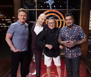 "MASTERCHEF: L-R: Chef/Judge Gordon Ramsay, judge Joe Bastianich, guest judge Chef Morimoto and  judge Aarón Sánchez and in the ""Legends: Chef Morimoto"" episode airing Wednesday, June 23 (8:00-9:00 PM ET/PT) on FOX. © 2019 FOX MEDIA LLC. CR: FOX."