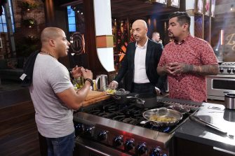 """MASTERCHEF: L-R: Contestant with judges Aarón Sánchez and Joe Bastianich in the """"Legends: Paula Dean - Auditions Round 3"""" airing Wednesday, June 16 (8:00-9:00 PM ET/PT) on FOX. © 2019 FOX MEDIA LLC. CR: FOX."""
