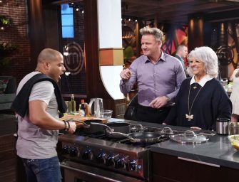"""MASTERCHEF: L-R: Contestant with chef/judge Gordon Ramsay and Paula Dean in the """"Legends: Paula Dean - Auditions Round 3"""" airing Wednesday, June 16 (8:00-9:00 PM ET/PT) on FOX. © 2019 FOX MEDIA LLC. CR: FOX."""