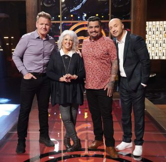"""MASTERCHEF: L-R: Chef/Judge Gordon Ramsay with guest judge Paula Dean and judges Aarón Sánchez and Joe Bastianich in the """"Legends: Paula Dean - Auditions Round 3"""" airing Wednesday, June 16 (8:00-9:00 PM ET/PT) on FOX. © 2019 FOX MEDIA LLC. CR: FOX."""