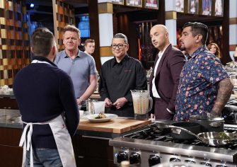 """MASTERCHEF: Contestant Alejandro with chef/host Gordon Ramsay, guest judge Chef Morimoto and judges Aarón Sánchez and Joe Bastianich in the """"Legends: Chef Morimoto"""" episode airing Wednesday, June 23 (8:00-9:00 PM ET/PT) on FOX. © 2019 FOX MEDIA LLC. CR: FOX."""