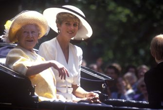 Queen Elizabeth The Queen Mother, Diana, Princess of Wales, Trooping the Colour, 13th June 1992. (Photo by John Shelley Collection/Avalon/Getty Images)