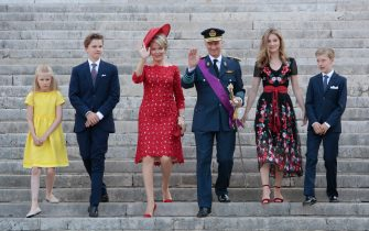 BRUSSEL, BELGIUM - JULY 21:Princess Eleonore, Prince Gabriel, Queen Mathilde, King Philip of Belgium, Princess Elisabeth and Prince Emmanuel attend the Te Deum at the Saint Gudule and Michel Cathedral on July 21, 2018 in Brussel, Belgium. (Photo by Patrick Aventurier/WireImage )