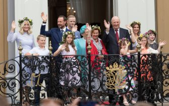 TRONDHEIM, NORWAY - JUNE 23: Crown Princess Mette-Marit of Norway, Prince Sverre Magnus of Norway, Crown Prince Haakon of Norway, Princess Ingrid Alexandra of Norway, Marius Borg Hoiby, Princess Astrid of Norway, Queen Sonja of Norway, King Harald V of Norway, Emma Tallulah Behn, Princess Martha Louise of Norway, Leah Isadora Behn and Maud Angelica Behn attend a garden party during the Royal Silver Jubilee Tour on June 23, 2016 in Trondheim, Norway.  (Photo by Ragnar Singsaas/Getty Images)