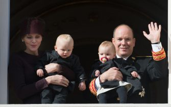 MONACO - NOVEMBER 19:  Princess Charlene of Monaco, Prince Albert II of Monaco, Princess Gabriela and Prince Jacques appear on the Balcony during the Monaco national day on November 19, 2015 in Monaco, Monaco.  (Photo by Thierry Orban/Getty Images)