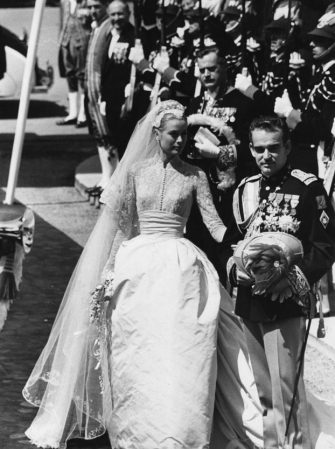The wedding of Prince Rainier III of Monaco, Louis Henri Maxence Bertrand de Grimaldi, to American actress Grace Kelly, known thereafter as Princess Grace.  Original Publication: Picture Post - 8336 - The Hour Of Marriage - pub. 1956 (Photo by Joseph McKeown/Getty Images)