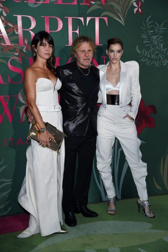 MILAN, ITALY - SEPTEMBER 22:  Arianna Alessi, Renzo Rosso and Barbara Palvin attend the Green Carpet Fashion Awards during the Milan Fashion Week Spring/Summer 2020 on September 22, 2019 in Milan, Italy. (Photo by Stefania D'Alessandro/Getty Images)
