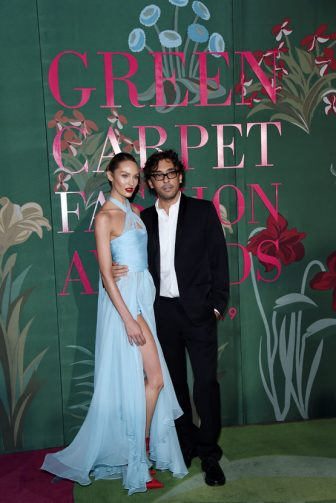 MILAN, ITALY - SEPTEMBER 22:  Candice Swanepoel and Lorenzo Serafini attend the Green Carpet Fashion Awards during the Milan Fashion Week Spring/Summer 2020 on September 22, 2019 in Milan, Italy. (Photo by Stefania D'Alessandro/Getty Images)