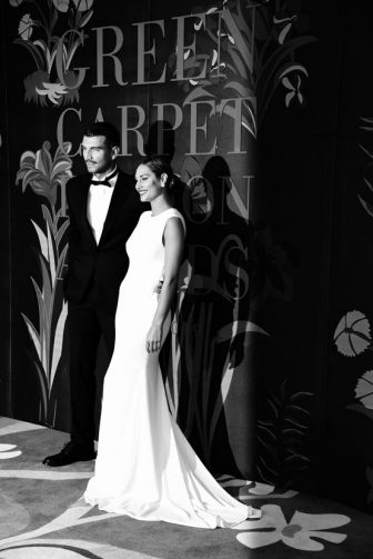 MILAN, ITALY - SEPTEMBER 22:  (EDITORS NOTE:This image has been converted in black and white)  Marco Fantini and Beatrice Valli attend the Green Carpet Fashion Awards during the Milan Fashion Week Spring/Summer 2020 on September 22, 2019 in Milan, Italy. (Photo by Stefania D'Alessandro/Getty Images)