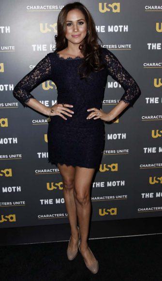 """Meghan Markle arrives at USA Network and The Moth's """"A More Perfect Union: Stories of Prejudice and Power"""" Characters Unite storytelling event in West Hollywood, Calif., Wednesday, Feb. 15, 2012.  The event features storytellers sharing the personal experiences with discrimination and bigotry. (AP Photo/Matt Sayles)"""