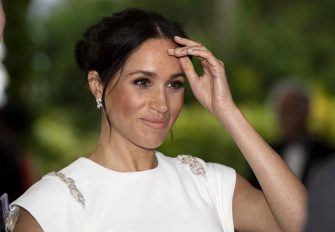 Meghan, Duchess of Sussex attending a state dinner in Nuku'alofa, Tonga, Thursday, Oct. 25, 2018. Prince Harry and his wife Meghan are on day 10 of their 16-day tour of Australia and the South Pacific. (Paul Edwards/Pool Photo via AP)