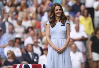 Britain's Kate, Duchess of Cambridge stands on centre court during the trophy presentation after Serbia's Novak Djokovic defeated Switzerland's Roger Federer during the men's singles final match of the Wimbledon Tennis Championships in London, Sunday, July 14, 2019. (Laurence Griffiths/Pool Photo via AP)