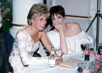 "LONDON - SEPTEMBER 20: Lady Diana, Princess of Wales (1961 - 1997) laughs with American performer Liza Minnelli at a party following the charity film premiere of ""Stepping Out"", at the Langham Hilton Hotel on September 20, 1991 in London. (Photo by Dave Benett/Getty Images)"