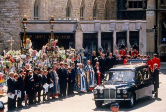 LONDON - SEPTEMBER 6: Family members, including Diana's mother, Frances Shand-Kydd, Diana's elder sister, Lady Sarah McCorquodale, the 9th Earl, Charles Spencer, Prince William, Prince Harry, and Prince Charles, watch the hearse depart, at the funeral of Diana, Princess of Wales, on September 6, 1997, at Westminster Abbey, London, England. (Photo by David Levenson/Getty Images)