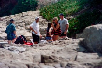 Photo taken on July 14, 1997 shows Britain's Lady Diana spending holidays near the property of her friend Dodi Al-Fayed in Saint Tropez, on the French Riviera.  Diana, Princess of Wales, and her companion, the Egyptian millionaire film-producer Dodi al-Fayed, died in Paris early 31 August after a midnight car crash. / AFP PHOTO / Patrick HERTZOG        (Photo credit should read PATRICK HERTZOG/AFP via Getty Images)