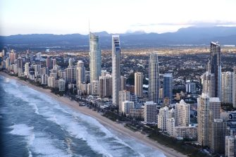 GOLD COAST, AUSTRALIA - APRIL 07:  Beachfront hotels at Surfers Paradise on the Gold Coast on April 7, 2017 in Gold Coast, Australia. The 2018 Commonwealth Games will be held on the Gold Coast from April 4th to 15th next year.  (Photo by Cameron Spencer/Getty Images)