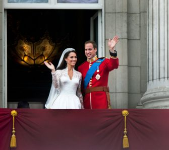 Prince William and Catherine, Duchess of Cambridge greet well-wishers from the balcony at Buckingham Palace after their wedding, London, 29th April 2011. (Photo by Tom Stoddart/Getty Images)